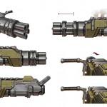 Battleborn Concept art of Montana's Minigun
