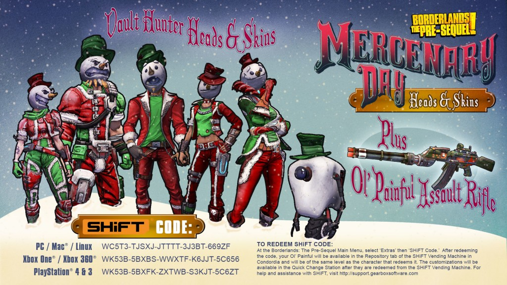 Mercenary Day Festivities in Borderlands the Pre-Sequel ... Borderlands The Pre Sequel Shift Codes