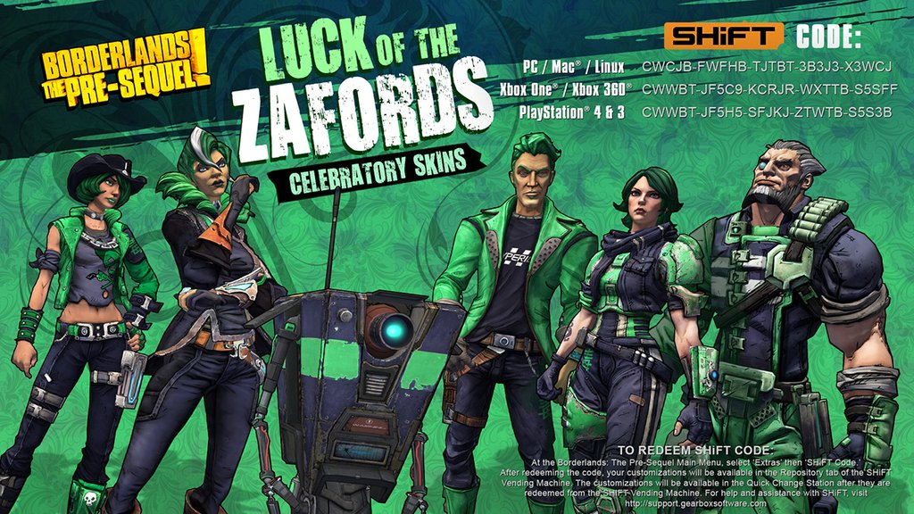 St. Patrick's Day skins for Borderlands: The Pre-Sequel ... Borderlands The Pre Sequel Shift Codes