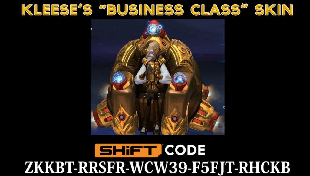 Kleese's gold Business class skin - battleborn shift code