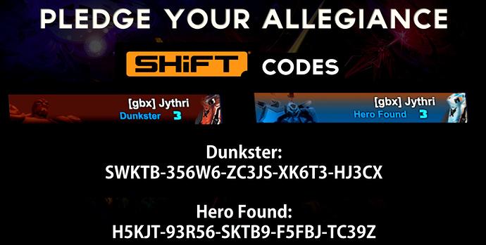 Battleborn esports team shift codes