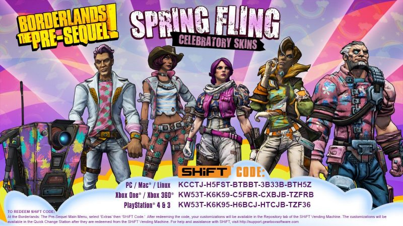 Get your Spring Fling (skins) in Borderlands the Pre ... Borderlands Pre Sequel Shift Codes