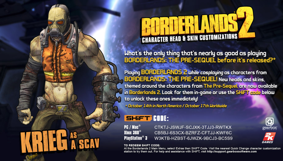 Borderlands 2 SHiFT Codes for Borderlands the Pre-Sequel ... Borderlands 2 Shift Codes